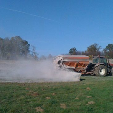 Spreading agricultural lime before tree planting