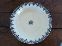 blue and white plate from above